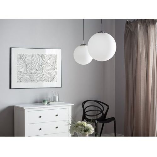 Beliani Lampa wisząca szklana biała barrow l (4260602372684)
