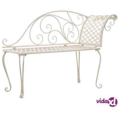 Vidaxl szezlong ogrodowy, 128 cm, metalowy, antyczna biel (8718475718758)