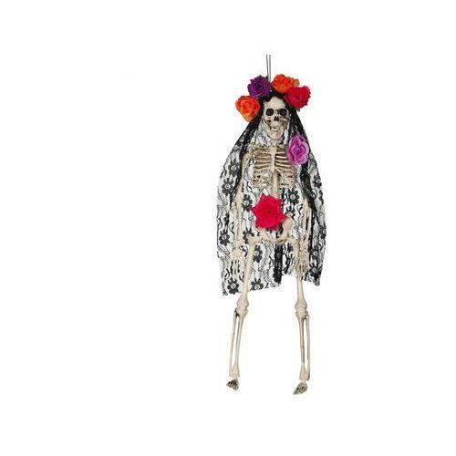 Dekoracja wisząca Szkielet z welonem i różami - 40 cm - 1 szt.