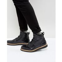 leather wedge lace up boots - black, Zign