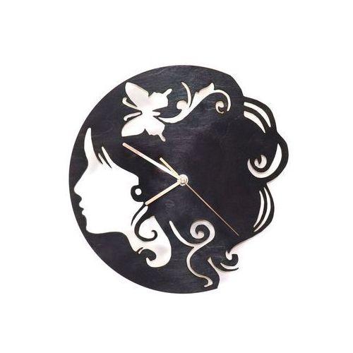 Drewniany zegar na ścianę Twarz kobiety ze złotymi wskazówkami (5907509932397)