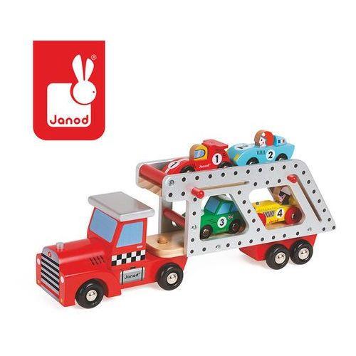 Laweta drewniana z 4 samochodzikami - duża j08572 marki Janod