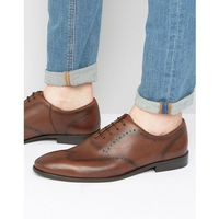 leather brogue shoes in brown - brown, New look