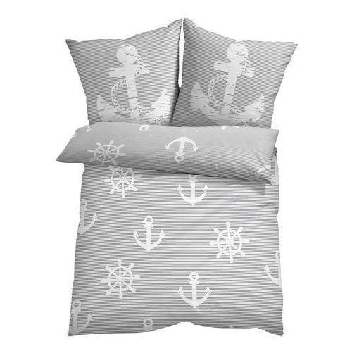 Pościel w marynarskie motywy szaro-biały marki Bonprix