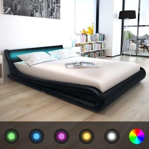 łóżko ze sztucznej skóry z materacem memory foam 160 x 200 cm, czarne marki Vidaxl