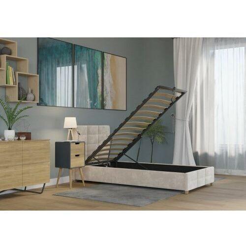 Łóżko 90x200 tapicerowane bergamo + pojemnik welur beżowe marki Big meble