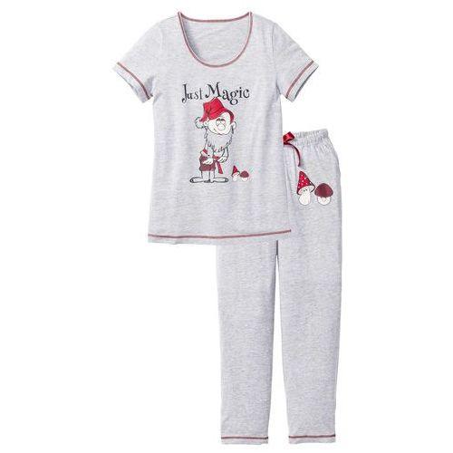 Piżama jasnoszary melanż z nadrukiem, Bonprix, S-XXXXL