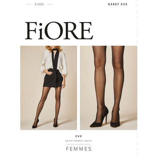Rajstopy Fiore Eve G 5867 8 den 2-4 3-M, czarno-różowy/black-dusty rose, Fiore