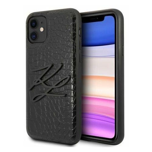 klhcn61crkbk iphone 11 hardcase czarny/black croco marki Karl lagerfeld