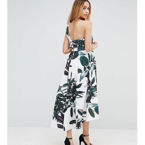 ASOS Maternity Scuba Palm Print Dip Back One Shoulder Midi Dress - Multi