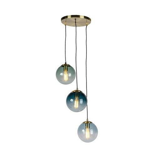 Lampa wisząca art deco mosiądz niebieskie szkło - Pallon