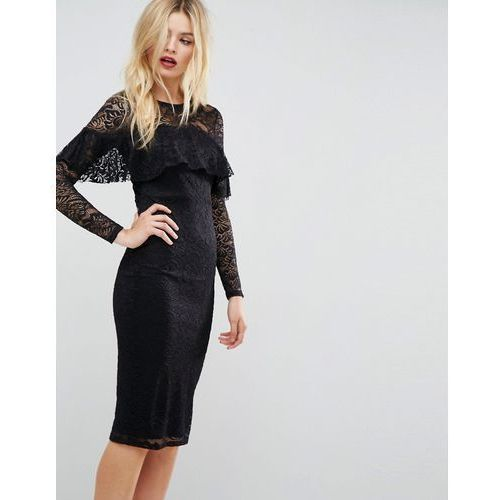midi lace pencil dress with long sleeves and frill detail - black, Asos