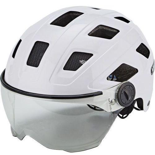 Abus hyban + kask rowerowy visor clear biały m | 52-58cm 2018 kaski rowerowe