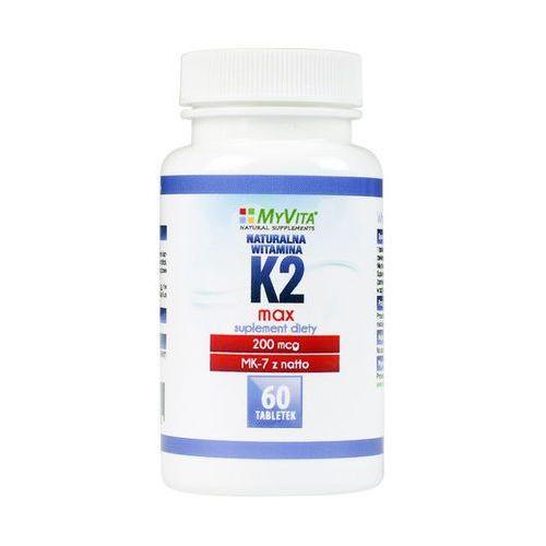 Tabletki Witamina K2 MK-7 K2 MK7 MAX 200mcg z natto K2MK7 60 tabletek MyVita