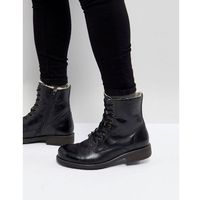 leather warm lining boots in black - black, Pier one