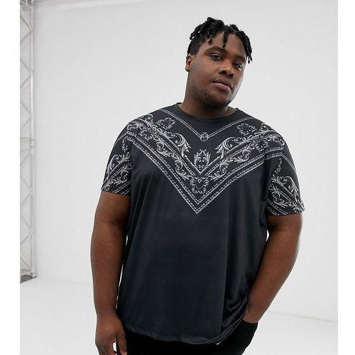 big & tall t-shirt with silver baroque chest print in black - black, Burton menswear, XXXL-XXXXL