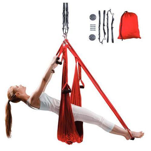 Insportline Antygrawitacyjny hamak do jogi hemmok czerwony + pasy, wsporniki sufitowe i śruby mocujące