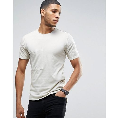 Only & sons  longline t-shirt with step back hem and pockets in organic cotton - beige