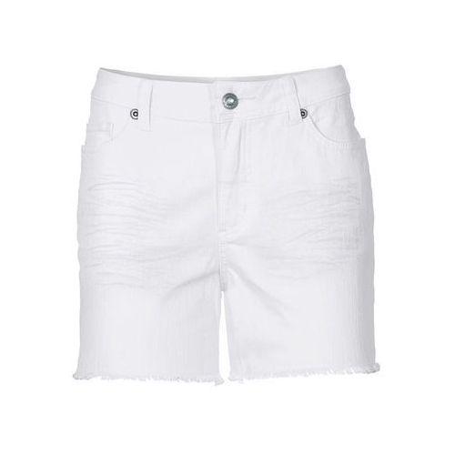 Krótkie spodenki twillowe bonprix biały, kolor biały
