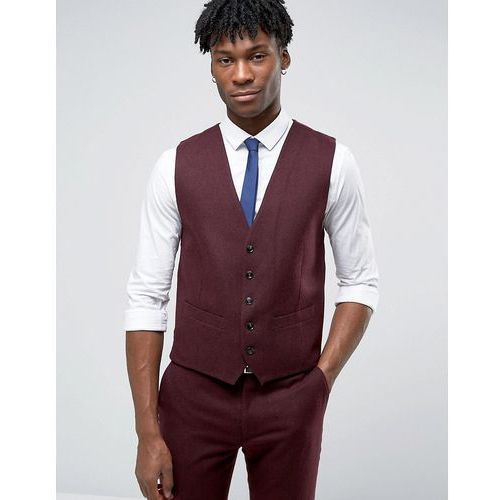 Original penguin  formal deep burgundy twill waistcoat - red