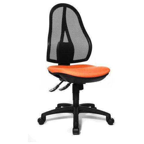 Topstar Obrotowe krzesło biurowe, bez poręczy, oparcie siatkowe czarne, obicie pomarańcz