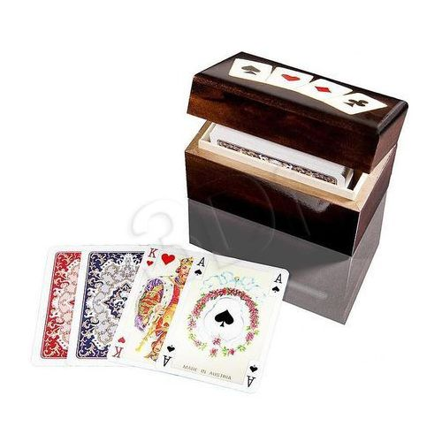 Karty do gry 2 talie lux w pudełku drewnianym z asami marki Piatnik