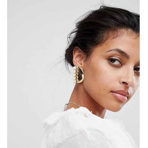 Liars & lovers gold & pearl statement stud earrings - gold
