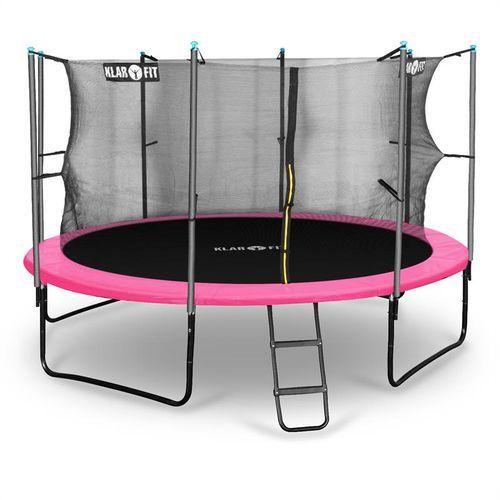 Klarfit  rocketgirl 366 trampolina 366cm siatka bezpieczeństwa wewnątrz, szeroka drabinka, różowa
