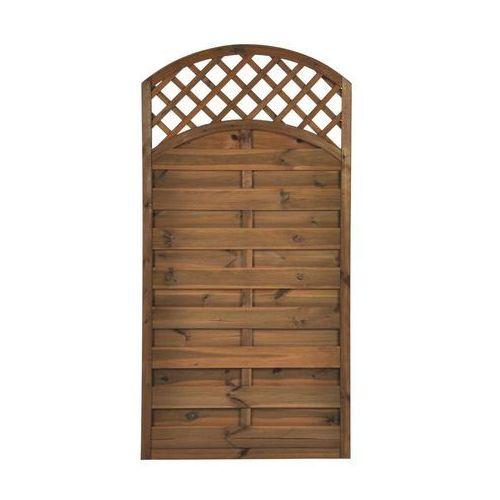Naterial Płot szczelny z łukiem i kratką 90x180 cm drewniany nive