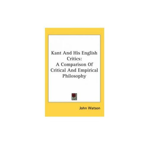 Kant And His English Critics