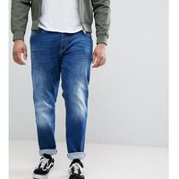 Duke plus tapered fit jeans in dark blue stonewash with stretch - blue