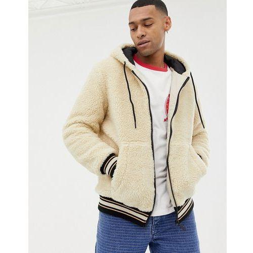 Bershka hooded fleece bomber jacket in sand - beige
