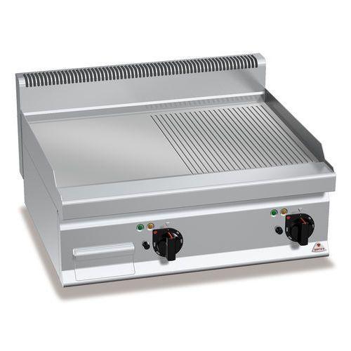 Płyta grillowa, elektryczna, ze stali nierdzewnej, 1/2 gładka i 1/2 ryflowana, nastawna, 9,6 kW, 800x700x290 mm   BERTO'S, Macros 700, POWERED MULTIPAN, E7FM8BP-2