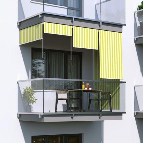 Roleta na balkon/markiza pionowa, Żółto-biała, 100x240cm