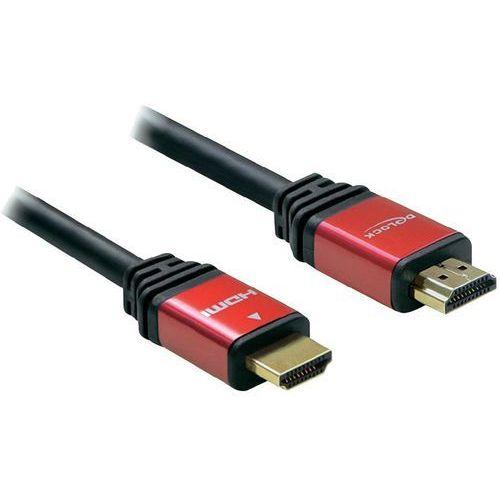 Kabel HDMI Delock 84335 84335, [1x złącze męskie HDMI - 1x złącze męskie HDMI], 5 m, czerwony/czarny (4043619843350)