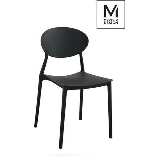 MODESTO proste krzesło plastikowe FLEX czarne - polipropylen, kolor czarny