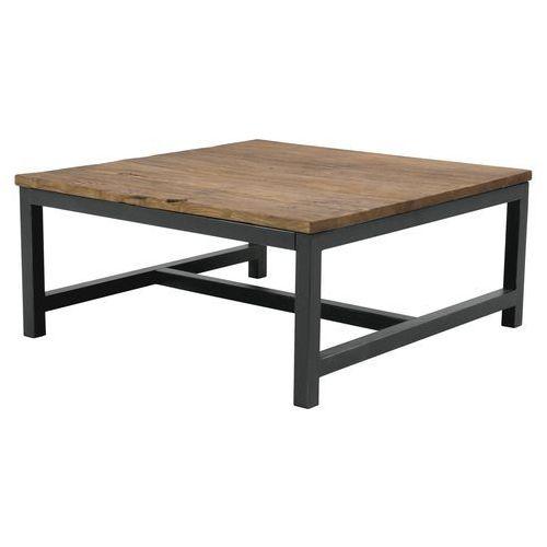 Interstil Ława vintage 90x90 cm, drewno woskowane, czarny metal 90451-1