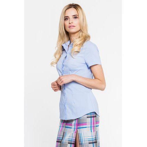 Prosta, błękitna koszula z krótkim rękawkiem - Bialcon, kolor niebieski