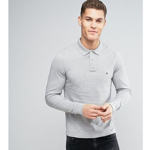 Tommy Hilfiger Long Sleeve Polo Pique Slim Fit Flag Logo in Grey Heather Exclusive to ASOS - Grey