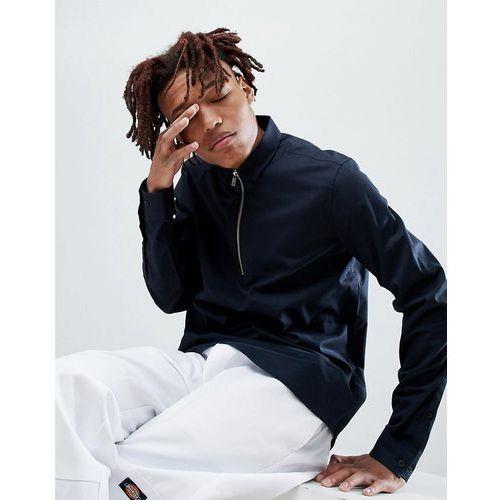design stretch regular fit overhead half zip shirt in black - black, Asos, XXS-XXL