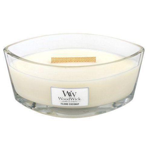 Woodwick - świeca hearthwick flame island coconut 60h