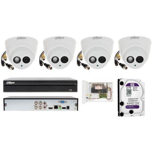 Zestaw monitoringu firmy Dahua na 4 kamery kopułowe z zasięgiem do 50 metrów