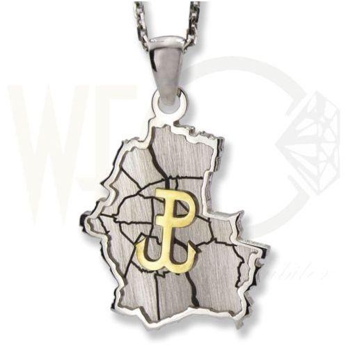 Wisiorek srebrny plan warszawy ze znakiem polski walczącej-1 marki Węc - twój jubiler