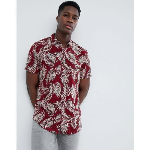 New look shirt in regular fit with feather print in burgundy - red
