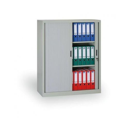 B2b partner Szafa metalowa z żaluzjowymi drzwiami, 1200x1000x450 mm, jasnoszary