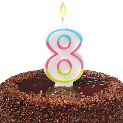 Pelikan Świeczka na tort urodziny cyfra 8 7,5cm susy-card - cyfra 8