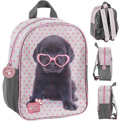 Plecak przedszkolny Studio Pets szary w różowe serduszka, kolor różowy