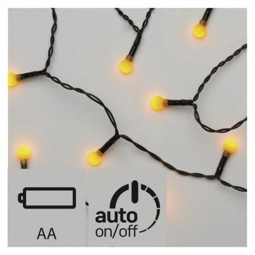 Lampki choinkowe EMOS 20 LED kulki 1.5m 2x AA IP20 Timer Żółty ZY1946 (8592920041482)