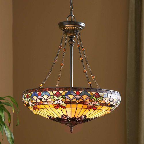 Elstead Lampa wisząca witrażowa tiffany belle fleur qz/bellefleur/p - lighting - rabat w koszyku (5024005212119)
