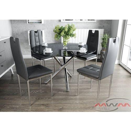 Meblemwm Stół szklany 100cm gr-079 + 4 krzesła tapicerowane k1 chrom